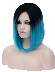 Womens Short Straight Hair Synthetic Wigs Black/blue Ombre Colors Anime Cosplay Wig Party Kanekalon Fibre 35cm