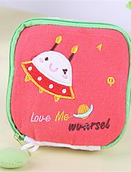 mignon sac en coton de santé de tissu de bande dessinée serviettes hygiéniques sac à main sac poche tante portefeuille
