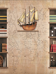 JAMMORY Wallpaper For Home Wall Covering Canvas Adhesive required Mural Nautical Maps and Shelves3XL(14'7''*9'2'')