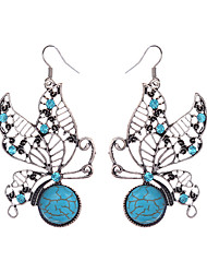 Beautiful Tibetan Silver Turquoise Rhinestone Butterfly Dangle Earrings For Women Girls Vintage Jewelry