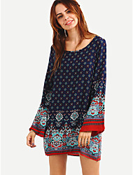 Women's Boho|Flare Sleeve Holiday Boho / Cute Loose Dress,Paisley Round Neck Mini Long Sleeve Blue / Red Polyester Fall