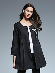 Women's Casual/Daily Street chic Spring / Fall Denim Jackets,Print Round Neck ¾ Sleeve Black Cotton Medium
