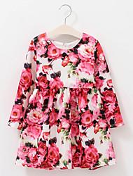 Girl's Cotton Spring/Autumn Flower Dress Cute Long Sleeve Princess Dress