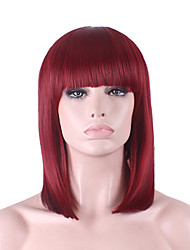 новые COS парик красного цвета вина Аккуратные взрыва пряжки Бобо короткий парик в пределах 12 дюймов