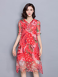 Women's Going out / Plus Size Vintage Sheath Dress,Floral Asymmetrical Knee-length ½ Length Sleeve Red Polyester Summer Mid Rise