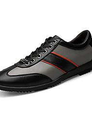 Herren-Flache Schuhe-Lässig-Leder-Flacher Absatz-Komfort-Schwarz / Grau