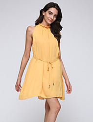 Women's Solid Vintage Slim Hin Thin Dress , Casual / Work Round Neck Sleeveless