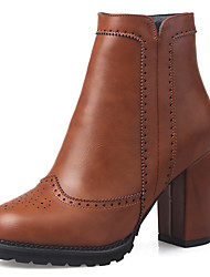 Women's Boots Spring/Fall/Winter Heels/Bootie/Round Toe Office & Career/Party & Evening/Casual Chunky Heel Zipper