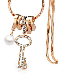 Key Shape With Imitation Pearl Pendant Necklace Sweater Chain Long Rose Gold Plated Women Party Jewelry With Gift Box