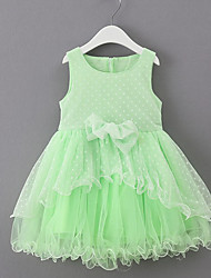 Girl's Casual/Daily Solid Dress,Cotton / Polyester Summer Green / Pink / White