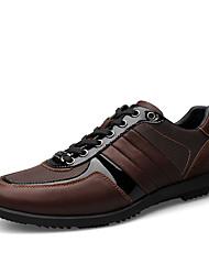 Men's Flats Spring Fall PU Outdoor Flat Heel Lace-up Black Brown