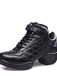 Non Customizable Women's Dance Shoes Leather Leather Jazz /Heels / Sneakers Chunky Heel Beginner