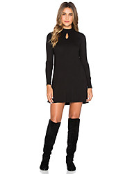Women's Going out Street chic Sheath Dress,Solid Turtleneck Mini Long Sleeve Black Cotton Fall