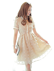 Women's Formal Cute A Line Dress,Patchwork Round Neck Above Knee Short Sleeve Brown Polyester Summer