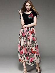 suelta el vestido de flores simple de kmdm las mujeres, cuello redondo de nylon maxi