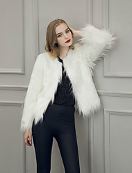 Women's Going out / Casual Western Style Fashion Street chic Fur Coat,Solid Long Sleeve Faux Fur