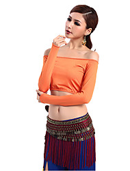 Belly Dance Tops Women's Milk Fiber Pleated 1 Piece Orange Belly Dance Long Sleeve Natural Top