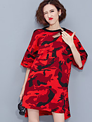 Women's Casual/Daily Simple Tunic Dress,Print Round Neck Above Knee ½ Length Sleeve Red Rayon Summer