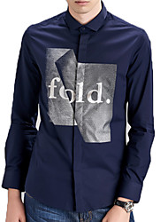 Men's Print Casual / Work / Formal / Sport / Plus Size Shirt,Cotton Long Sleeve Blue / White