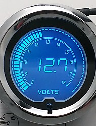"2"" 7 Colors Blue Red LED Car Voltage Meter Auto Digital Volt Gauge 52mm Tint Len"