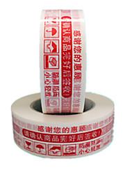 colore bianco, altro materiale, imballaggio&spedizione sfondo bianco, caratteri rossi, avvertimenti nastro adesivo un pacchetto di