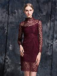 Stephanie женщин происходит из старинных оболочки dresssolid стоят мини / выше колена с длинным рукавом красный