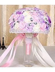 """Bouquets de Noiva Redondo Rosas Buquês Casamento Cetim 9.45""""(Aprox.24cm)"""