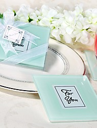 White Express Your Love Glass Photo Frame Coasters Favors 2pcs/box / Bridesmaids / Bachelorette / Wedding Keepsakes