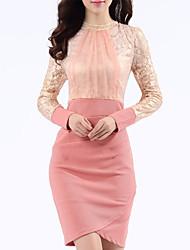 Women's Work Street chic Sheath Dress,Patchwork Turtleneck Above Knee Long Sleeve Pink / Black Others Spring