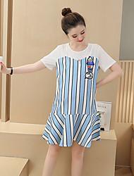 Maternidade Solto Vestido,Casual Simples Listrado Decote Redondo Acima do Joelho Manga Curta Branco Algodão Verão