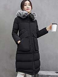 Women's Patchwork Slim Large Size Padded Coat,Street chic Hooded Long Sleeve