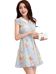 Women's Going out Sophisticated A Line Dress,Floral Peter Pan Collar Mini Short Sleeve Blue / Pink Polyester Summer