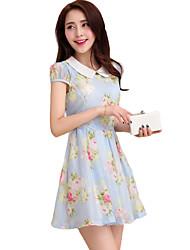 De las mujeres Línea A Vestido Noche Sofisticado,Floral Cuello de Peter Pan Mini Manga Corta Azul / Rosa Poliéster Verano