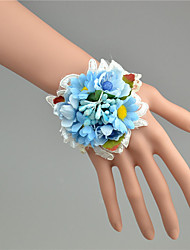 Wedding Flowers Hand-tied  Wrist Corsages Wedding Blue / Fuchsia / Pink Tulle