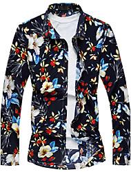Men's Fashion Casual Printing Long Sleeve Shirt Plus Size (Cotton)