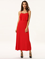 Women's Ruffle Summer Strap Solid Party Maxi Dress
