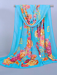 Women's Chiffon Flowers Print ScarfBlue/Fuchsia/White/Royal Blue