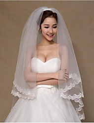 Wedding Veil Two-tier Fingertip Veils Lace Applique Edge Lace White
