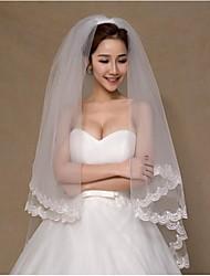 Hochzeitsschleier Zweischichtig Fingerspitzenlange Schleier Spitzen-Saum Spitzen Weiß
