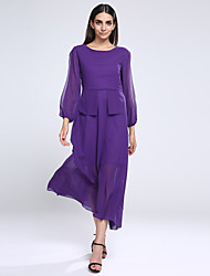 Women's Casual/Daily Sexy Plus Size / Swing Dress,Solid Round Neck Maxi Long Sleeve Purple Polyester / Others Fall