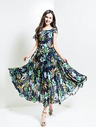 BORME® Women's Round Neck Short Sleeve Bohemia Floral Print Maxi Dress-F72