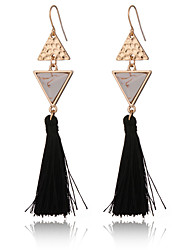 New Design Women's Turquoise Tassle Earrings Gold Plated Triangle Earrings Vintage Ethnic Long Earrings Jewelry