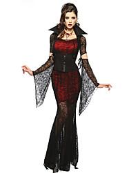Disfraces Vampiros Halloween Rojo y Negro Encaje Espándex / Terileno Falda / Mangas / Cinturón / Collar