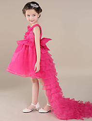 A-line Asymmetrical Flower Girl Dress - Organza Sleeveless Scoop with Flower(s)