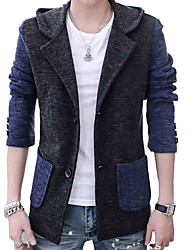 2015 new single row double coat pocket casual Hooded Jacket Coat Color men's long sleeve