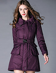 BURDULLY Women's Shirt Collar Long Sleeve Down & Parkas Black / Purple-8056