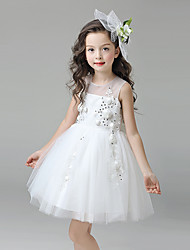 A-line Knee-length Flower Girl Dress - Satin Tulle Jewel with Appliques Flower(s) Sequins