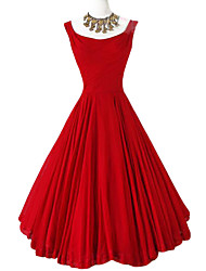 Women's Formal / Party Sexy Sheath Dress,Solid Round Neck Maxi Sleeveless Red Cotton Summer