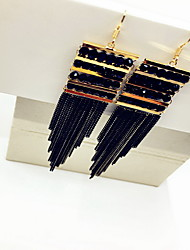 Korean Women Alloy Golden Tassels Hoop Earrings