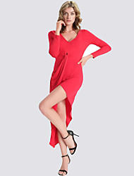 Women's Club Sexy Bodycon Dress,Solid V Neck Asymmetrical Long Sleeve Red / Black Polyester Fall / Winter